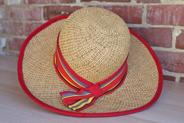 Liz Claiborne (New York, USA) Wide-Brimmed Straw Hat with Colorful Fabric Accents