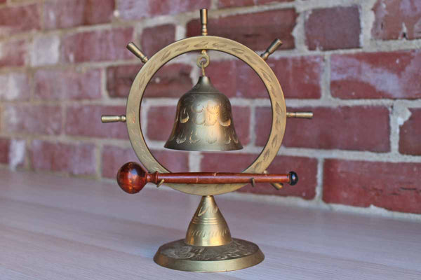 Ship's Wheel Brass Bell with Wooden Stick