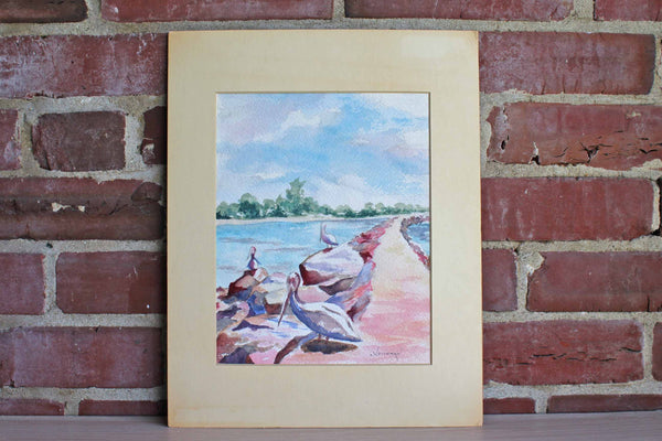 Pelicans on Jetties South Venice, Florida Watercolor Painting by Dorothy Tramdack Weichman