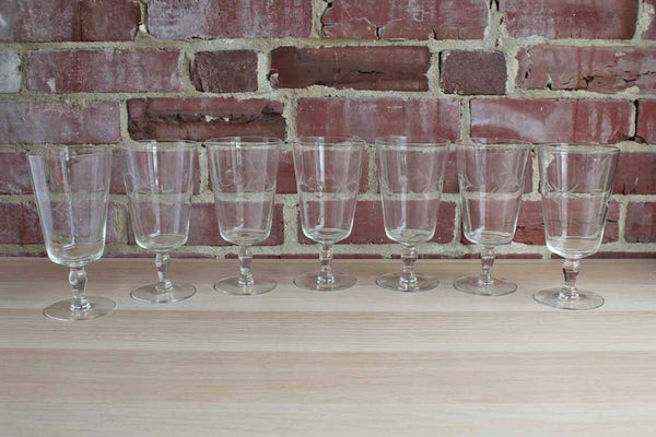 Clear Iced Tea or Water Pedestal Glasses with Etched Vines and Three Impressed Dots, Set of 7