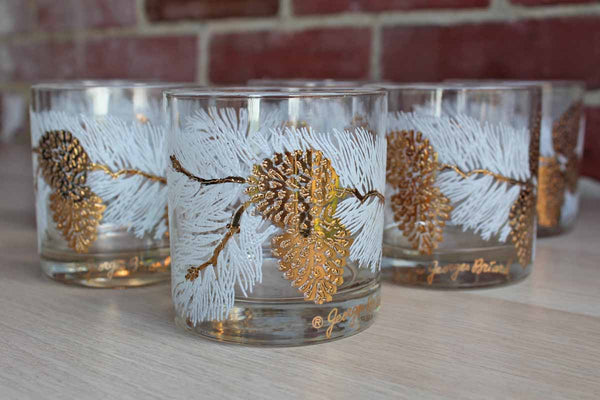 Georges Brirard (USA) Rocks Glasses Decorated with Gold and White Pinecones, 6 Pieces