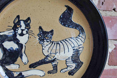 Handmade Earthenware Art Pottery Plate with Two Cats in Relief
