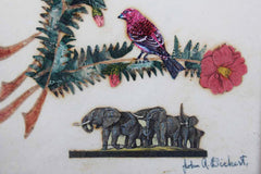 John A. Dickert Signed Postage Stamp Collage Art Featuring Birds, Camellia Flowers, African Elephants, and Thomas Jefferson