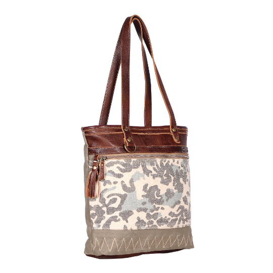 Camo Print Leather and Canvas Tote Bag by Myra