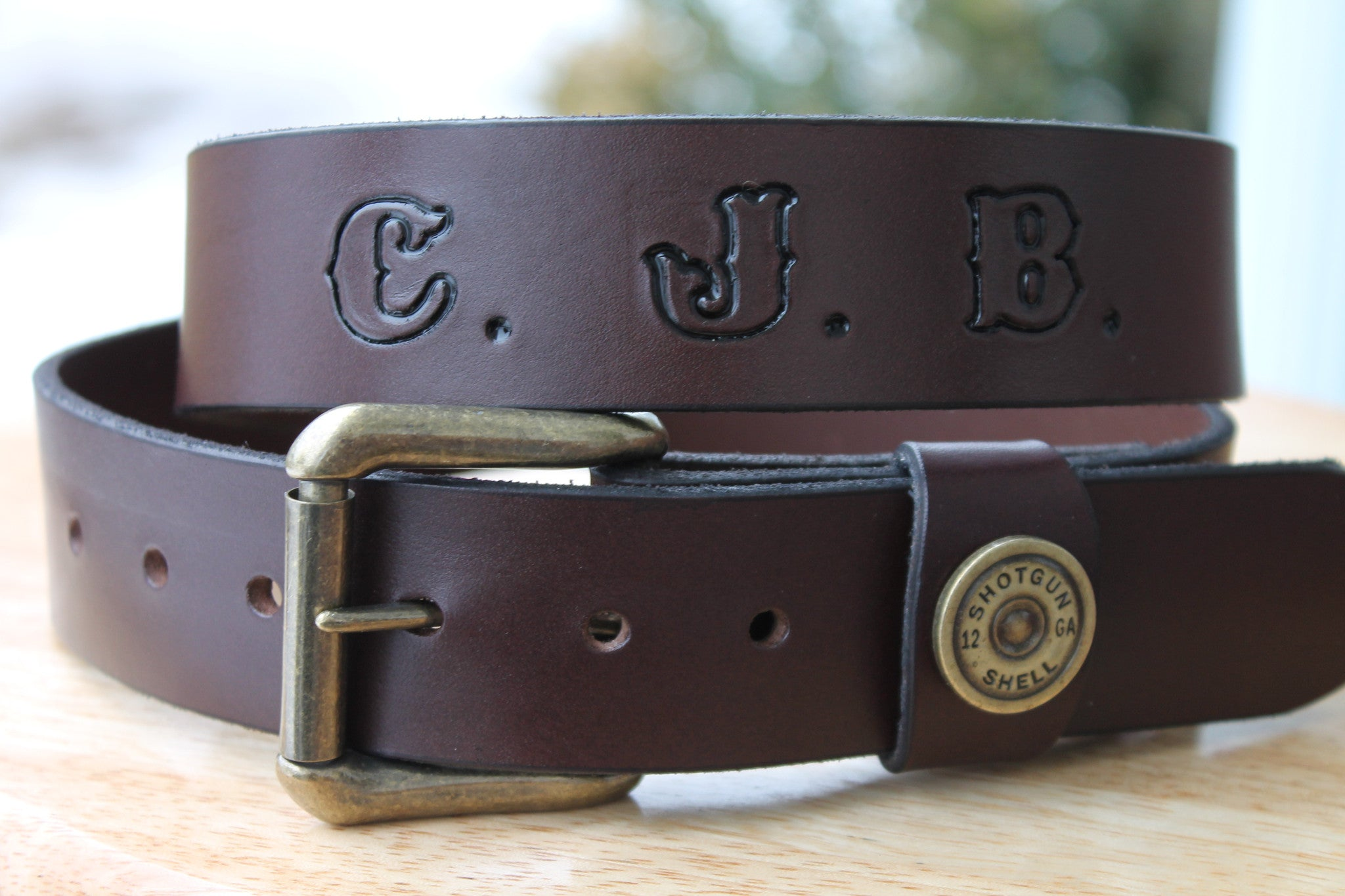 Leather Belt with Shotgun Shell Loop accent in Brown or Black (Solid Leather and no stitching)