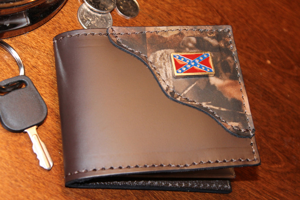 Bifold Classic Wallet--Brown with Realtree Camo accent and Rebel Flag--Initials Free!