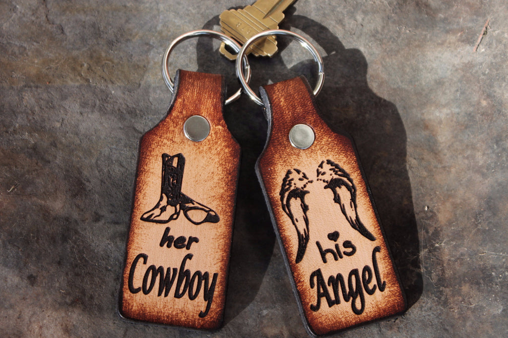 Cowboy and Angel Set of 2 Keychains