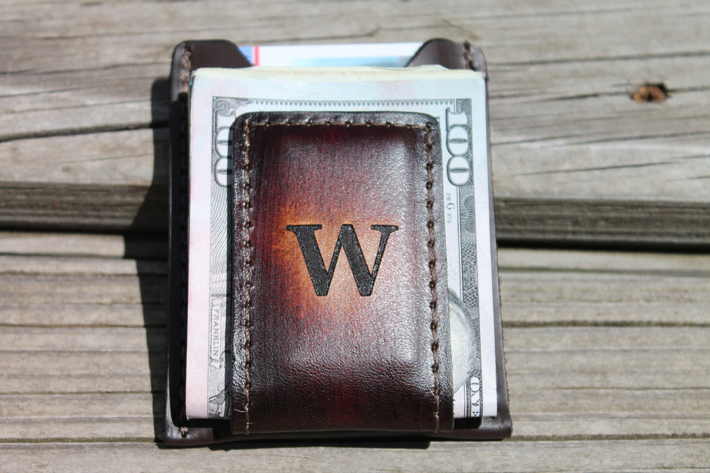 Leather Money Clip Wallet -- Monogram Engraved Free!