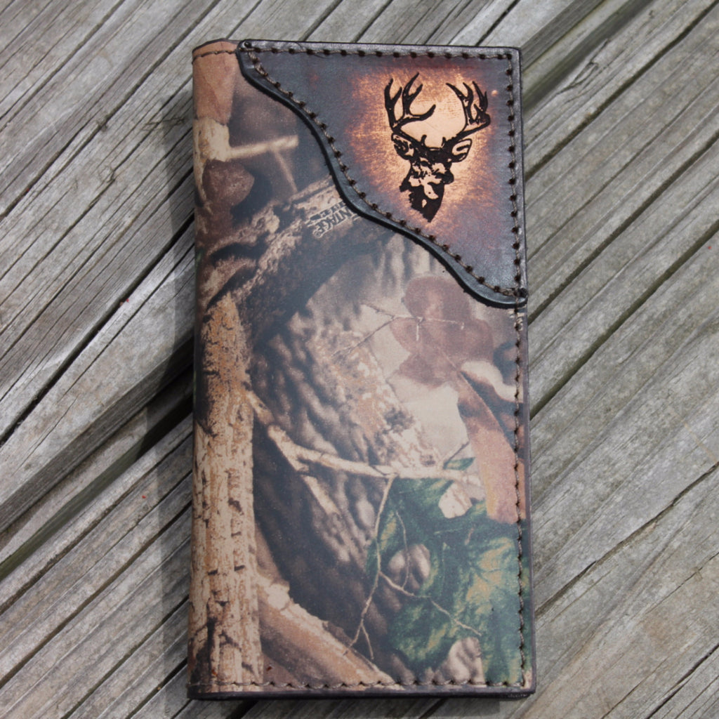 Roper Wallet - Deer - Realtree Camo Leather -Name or Initials Engraved Free!