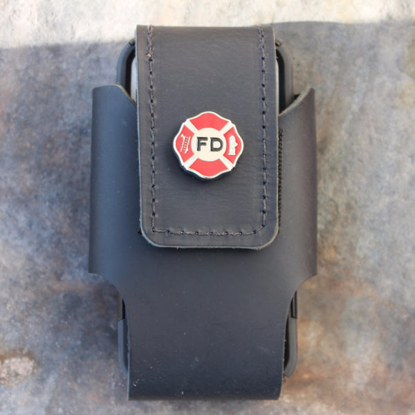 Custom Leather Cell Phone Case -- Fire Department concho