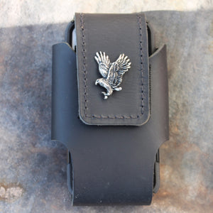 Custom Leather Cell Phone Case -- Eagle