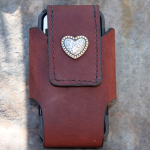 Custom Leather Cell Phone Case -- Western Heart Concho