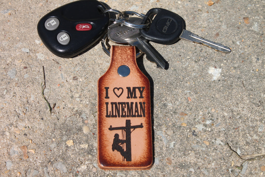 I Love my LINEMAN Keychain, engraved leather, Gift Boxed!
