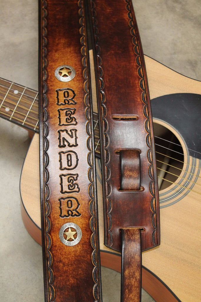 HandTooled Leather Guitar Strap, LoneStar Guitar Strap, fully adjustable strap--Name Engraved Free! Made in the USA.