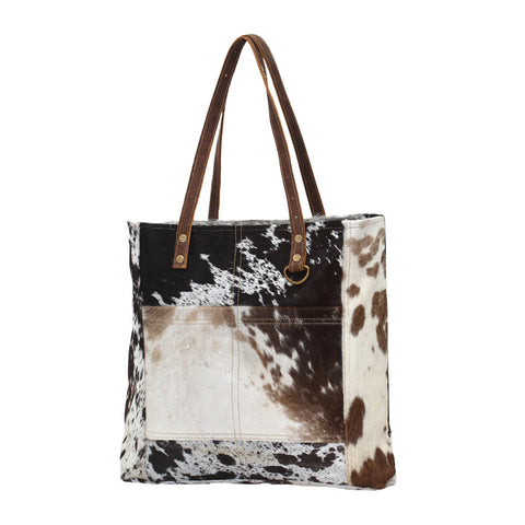 Full Hair On Tote Bag with Front pockets Tri Color Cowhide by Myra (S-0722)