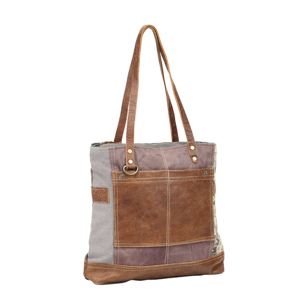 Flower Printed Canvas and Leather Tote by Myra