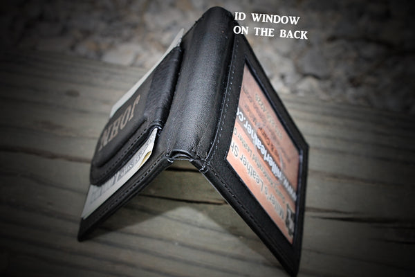 COMPACT FRONT POCKET WALLET, wallet for daddy, dad wallet, groomsmen gift, Leather Wallet & Money Clip --Engraved Free and Gift Boxed.