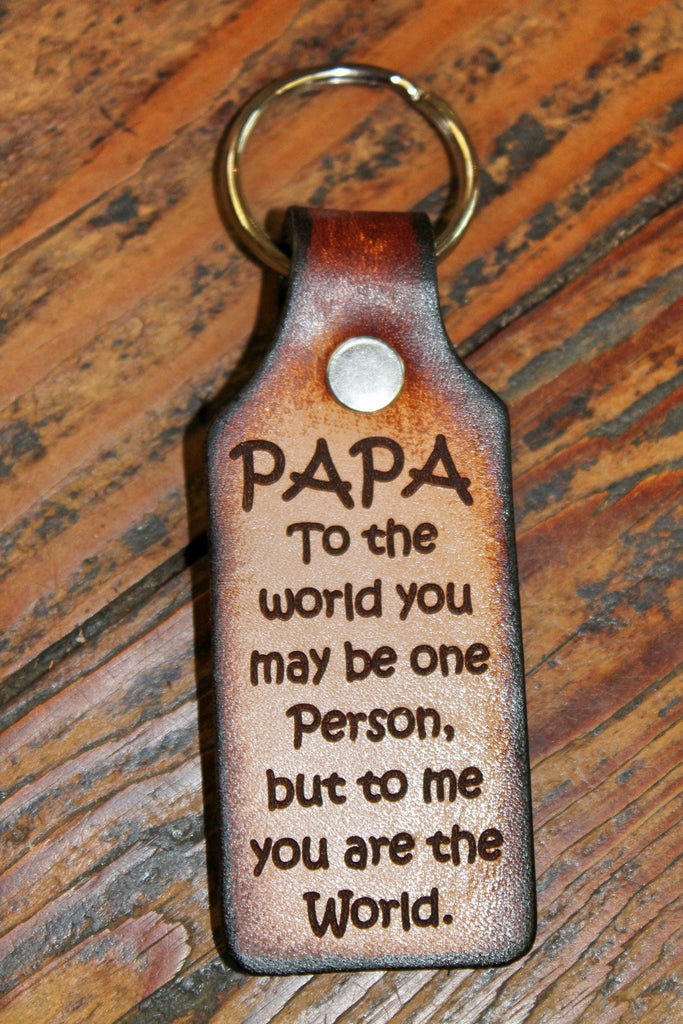 PAPA Key Chain,  Tooled Leather-- Papa, you are the World to me--Gift boxed Free!