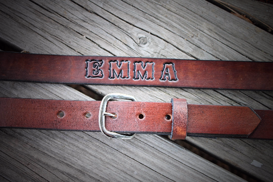 Kid's Leather Belt , PLAIN SMOOTH BROWN OR BLACK, Name Engraved Free!