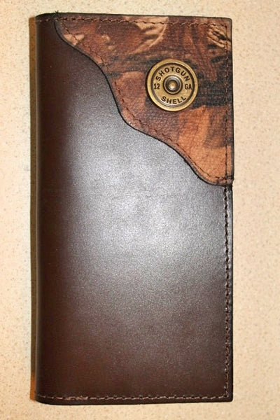 Roper Checkbook Wallet Brown Leather with Shotgun Shell  on Camo Corner accent--Initials Free!