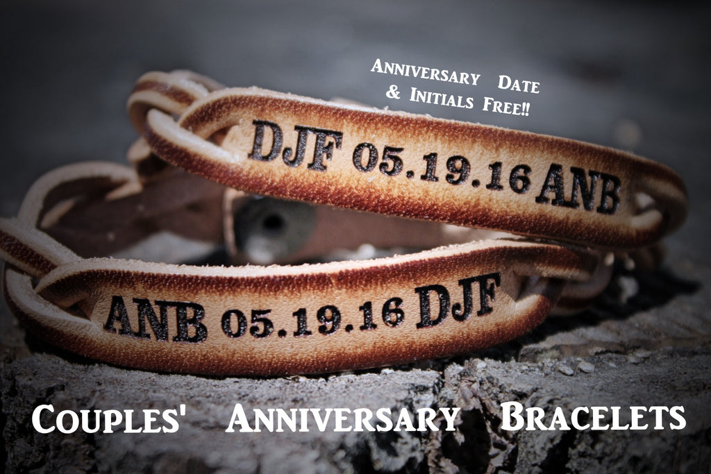 Custom Engraved Braided Leather Bracelet SET of TWO--Initials and Anniversary Date  FREE!