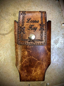 Custom Hand Tooled Barb Wire Leather Cell Phone Case