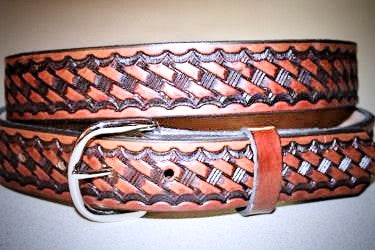 Handcrafted Leather Belt  with Classic Tooled Basket Weave Design (Solid Leather, No Stitching)