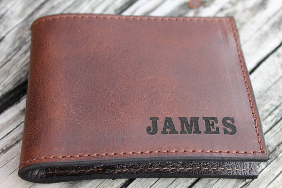 Handcrafted Leather Classic BIFOLD WALLET in Smooth Brown Leather--Full Name Engraved Free! Great Dad's Day Gift!