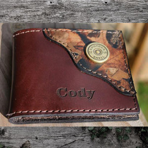 Shotgun Shell  Leather Wallet with Camo Corner