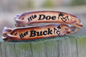 Her BUCK and His DOE Hand Braided BROWN Leather  Bracelet Set of 2--Gift Box Included