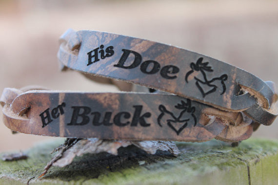 Her BUCK and His DOE Hand Braided Advantage Timber RealTree CAMO Leather  Bracelet Set of 2--Gift Box Included
