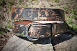 Handcrafted Leather Belt in REALTREE CAMO finish (Solid Leather and no stitching)