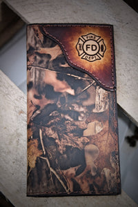 FIREFIGHTER WALLET, checkbook roper wallet, fire department logo, Name or Initials engraved Free!