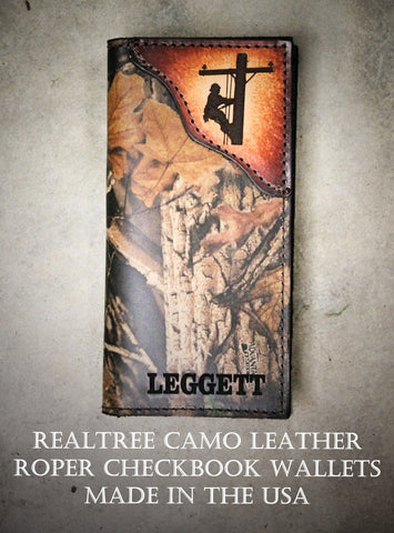 LINEMAN Checkbook Wallet, RealTree Camo Leather, Roper style wallet, Initials or Name Free!