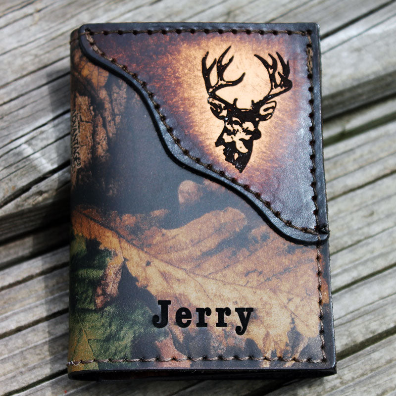 Buck Deer Realtree Camo Leather Wallet