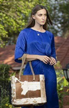 Caramel Full Hair On Tote Bag with Front pockets Cowhide by Myra (S-1428)