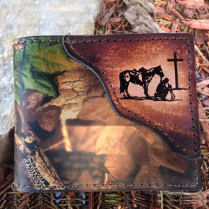 Cowboy At Cross Leather Wallet