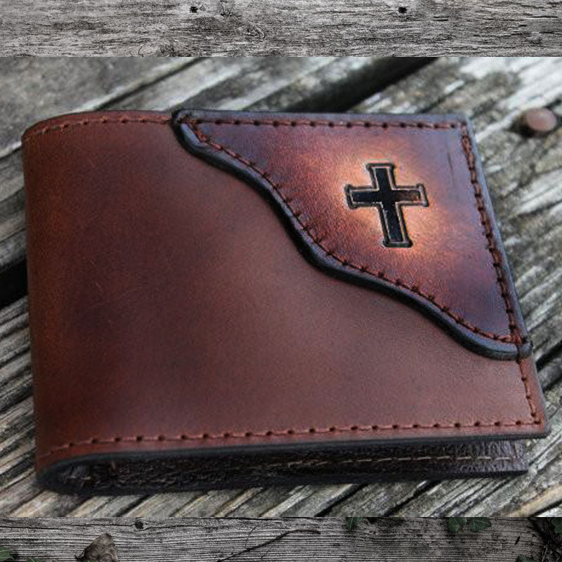 Christian Cross Leather Wallet