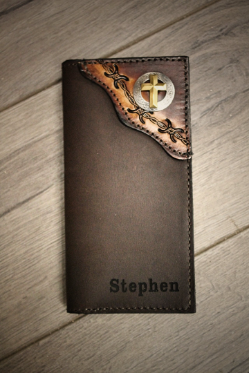 Christian Cross Roper Wallet, tooled barbwire