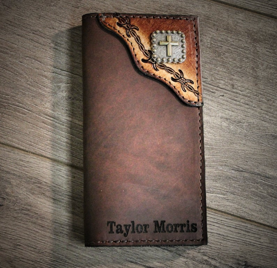 Square Cross Roper Wallet, tooled barbwire