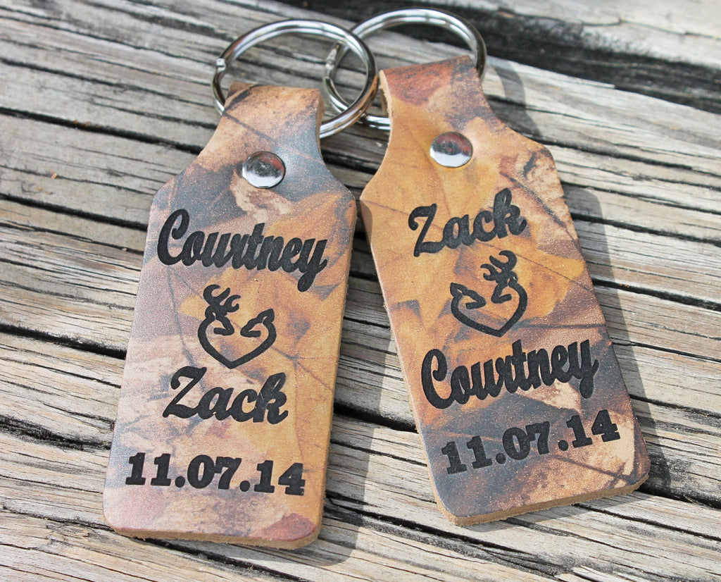 RealTree Camo Country Love Leather Key Chain Set of 2--Engraved with your Names and Anniversary Date