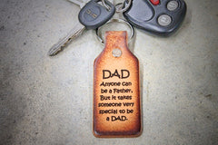 "Key Chain Tooled Leather ""Dad, Anyone Can Be a Father..."""