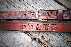 Deer Hunter Belt, tooled leather belt, personalized belt, Name Engraved Free!