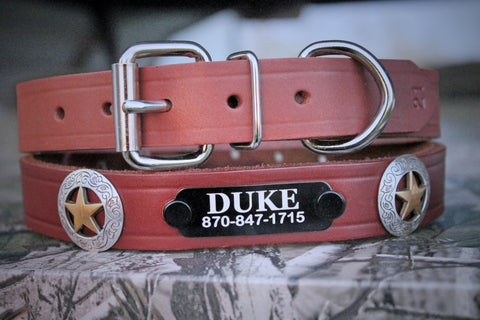 LEATHER DOG COLLAR, I.D. Plate and Conchos included, by Miller's Leather Shop