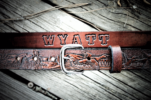 DUCK Hunter Belt, tooled leather belt, personalized belt, Name Engraved Free!