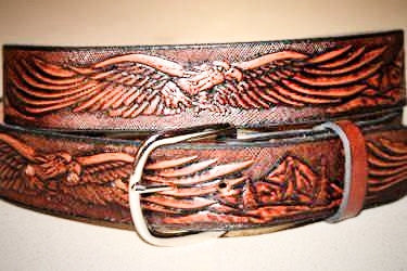 Handcrafted Leather Belt with Eagle in Flight and Mountains(Solid Leather and no stitching)