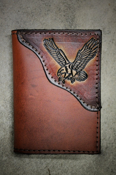 Handcrafted Veg Tan Cowhide Leather Trifold with Eagle in Flight tooled corner--Personalized With initials or name free!