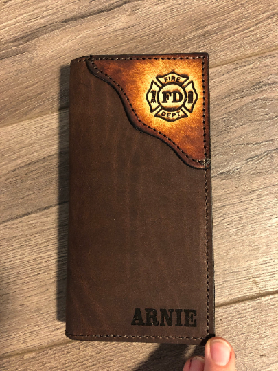 FIREFIGHTER WALLET, Brown Oil Tanned Leather