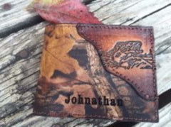 Camo Fishing Wallet, BASS FISHING, Realtree Camo, Initials or Name Free! Made in the USA!