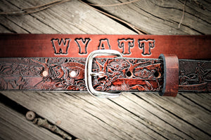 Kid's Leather Belt ,Fishing Scene, Name Engraved Free!